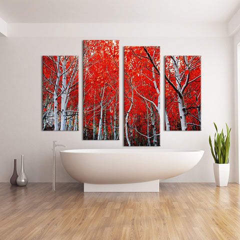 4 Piece Red Trees Wall art