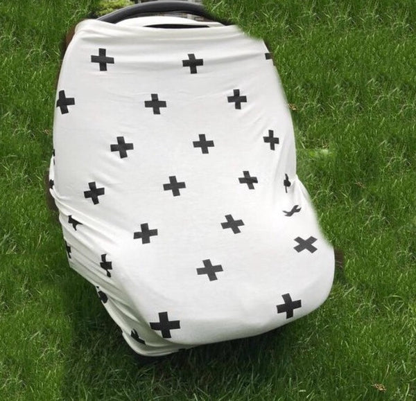 Swiss Cross 4 in 1 : Nursing Cover, Stroller / Car Seat Shade, Grocery Cart Protector, Scarf