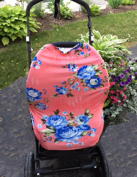 Blue Flower 4 in 1 : Nursing Cover, Stroller / Car Seat Shade, Grocery Cart Protector, Scarf