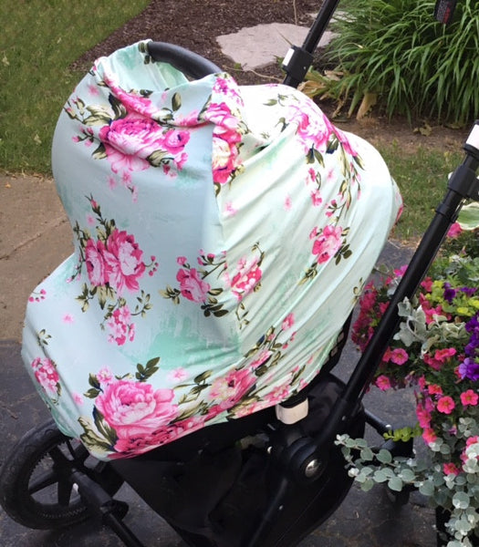 Pink Flower 4 in 1 : Nursing Cover, Stroller / Car Seat Shade, Grocery Cart Protector, Scarf