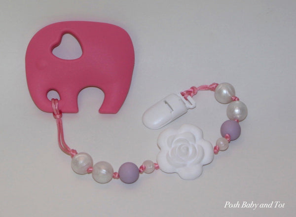 Ariella - Soft Lavander, Pearl & Rosette Beads! Elephant Teether