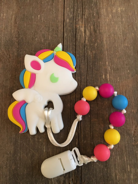 Unicorn Teether - pink / yellow