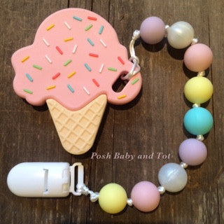 Pink Ice Cream Cone Teether! Pastel Clip On