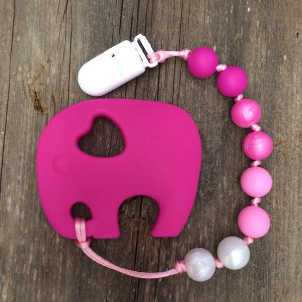 Hot Pink Elephant Teether - Pink Ombre!