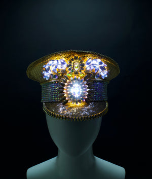 Gold & White LED Captains Hat | Light Up Military cap