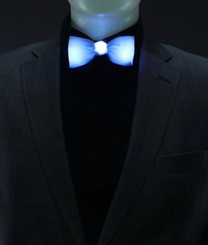 Glow LED Bow Tie Solid Color Blue