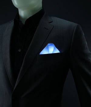 Blue Glow LED Pocket Square Solid Color