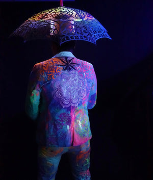 UV Reactive Suit Hand Painted Suit Black Light Clothing BONUS: LED Umbrella