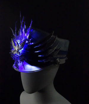 Light Up Festival Marching Band Hat Blue and White Wings