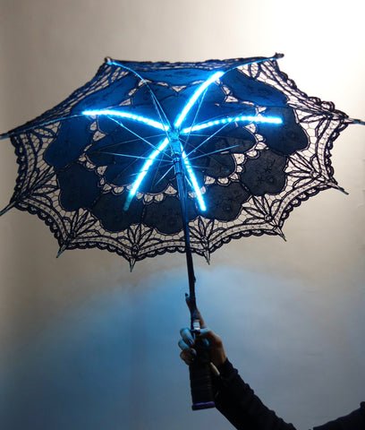 Glowing LED Umbrella | Black Lace Parasol