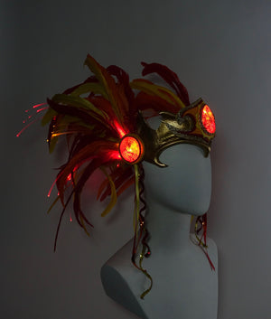 Light Up LED Headdress – Fire Color Illuminated Warrior