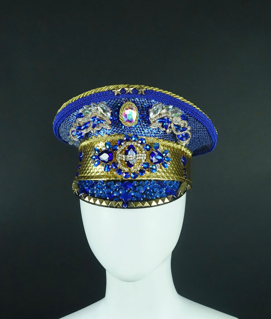 Light Up Military Hat | Blue & Gold MTO