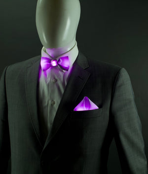Standard Color Glowing Bow Tie Pocket Square Set