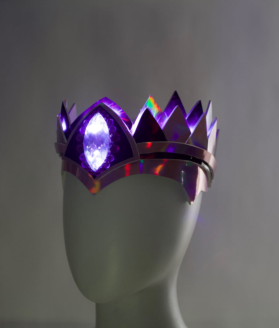 """Classic"" LED Crown Holographic Pink & Purple"