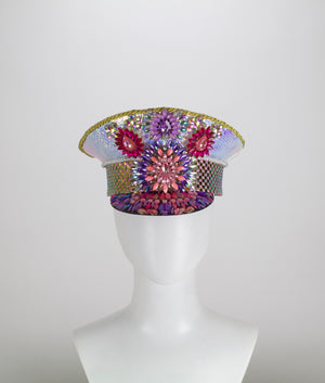 Purple Pink Holographic LED Captains Hat | Light Up Military cap