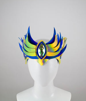 "Blue & Gold LED Holographic ""Flame"" Crown"