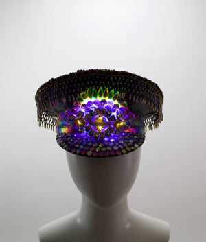 Dark Rainbow LED Captains Hat | Light Up Military cap