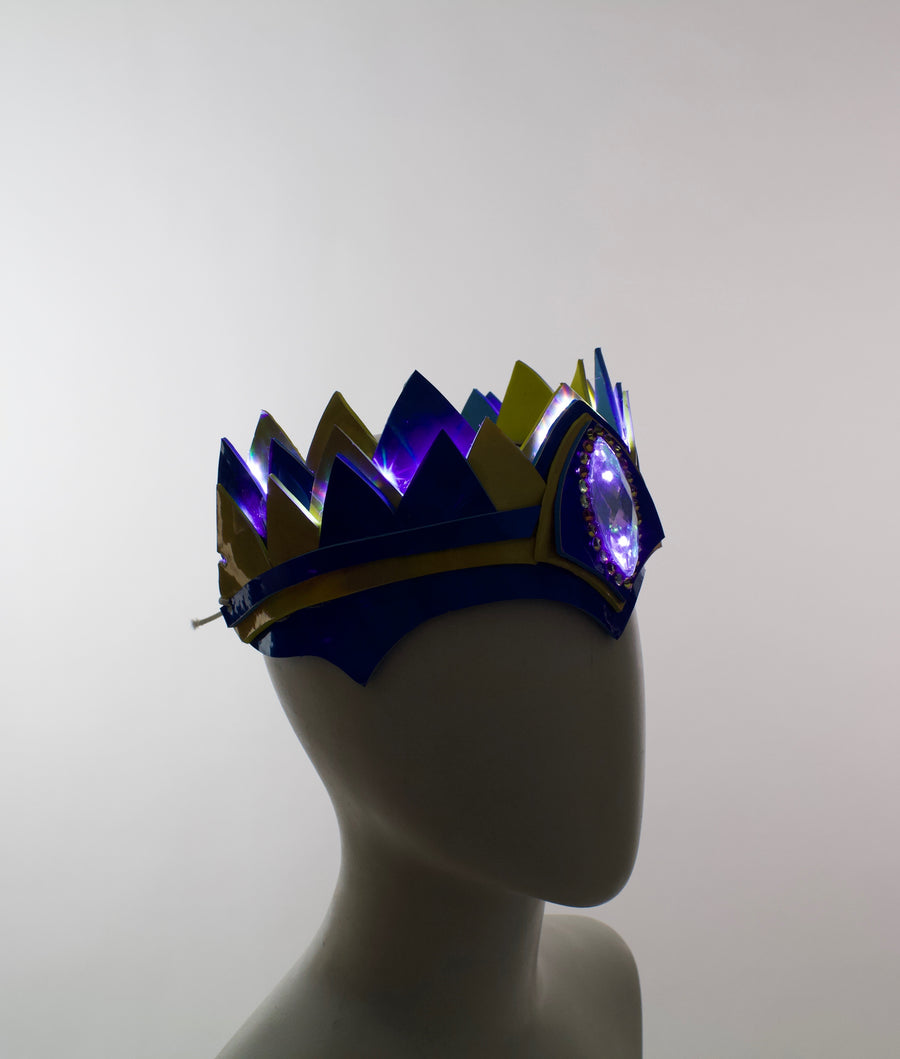 """Classic"" LED Crown Holographic Blue & Gold"