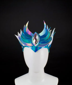 Teal & Silver Holographic LED Flame Crown