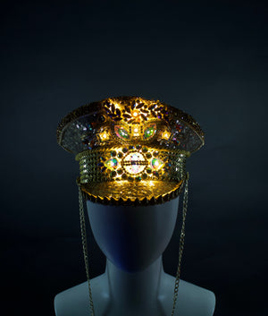 Solid Gold Captains Hat | Glowing LED Military Cap