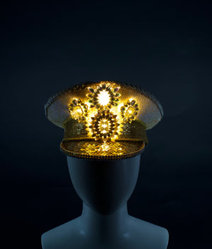 White & Gold LED Captains Hat | Light Up Military cap