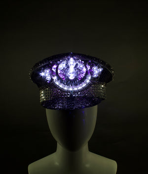 Black & Silver LED Captains Hat | Light Up Military cap