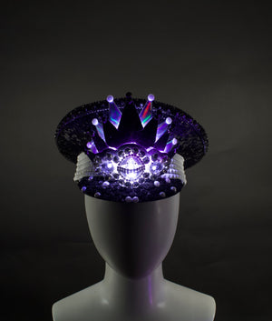 Black & White LED Captains Hat | Light Up Military cap