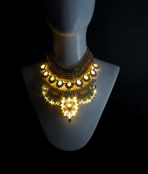 The Baroness | gold LED statement necklace