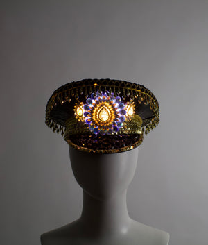 Black & Gold Captains Hat | Glowing LED Military Cap