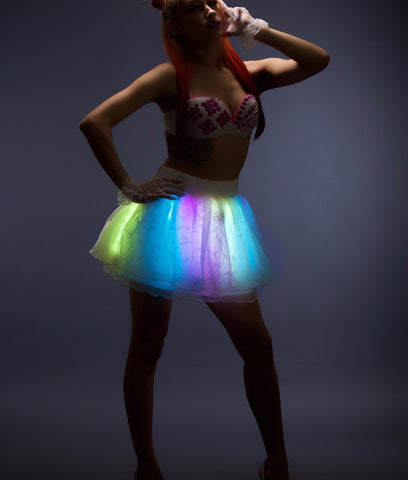 Glowing Animated LED Mini Skirt Festival Light Up Clothing
