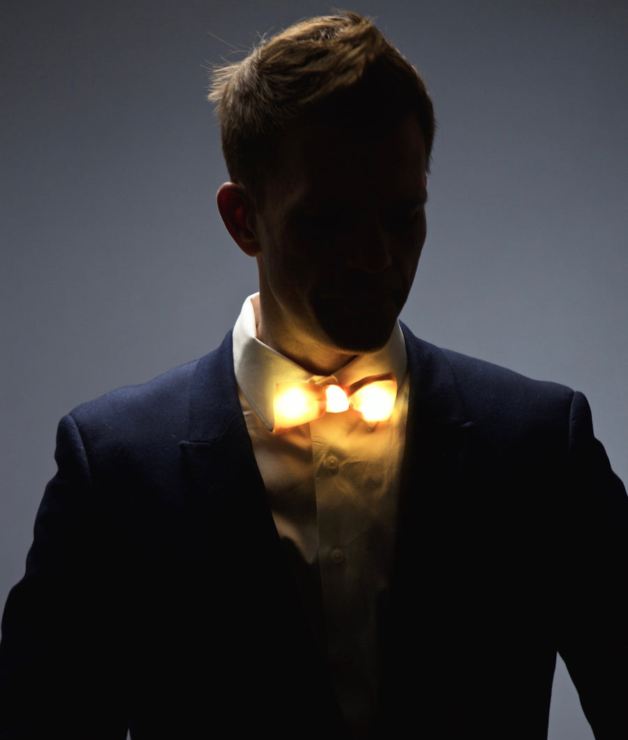 Glow LED Bow Tie Solid Color Gold