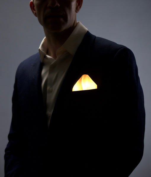 Glow LED Pocket Square Solid Color Gold