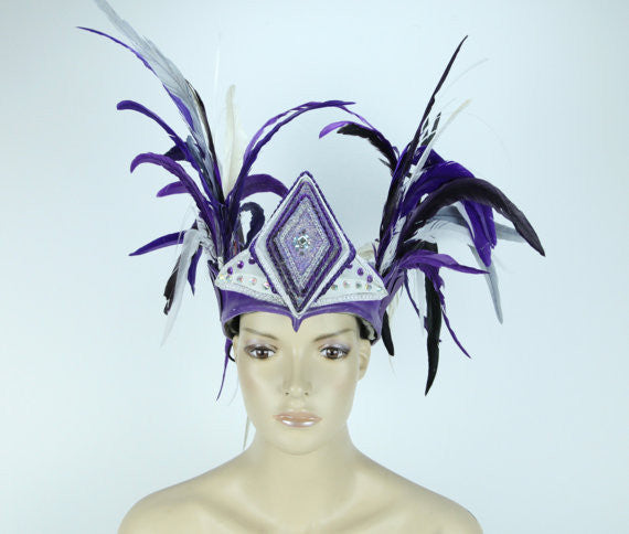 Illuminated Feather Side Wing Headdress - Purple and White - LED Crown