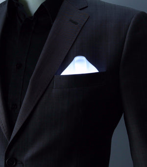 White Glow LED Pocket Square Solid Color