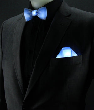 Glow LED Bow Tie and Pocket Square Set Blue
