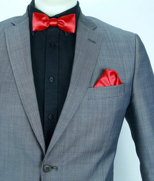 Glow LED Bow Tie and Pocket Square Set Red