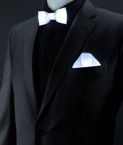 Glow LED Bow Tie and Pocket Square Set White