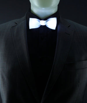Glow LED Bow Tie Solid Color White