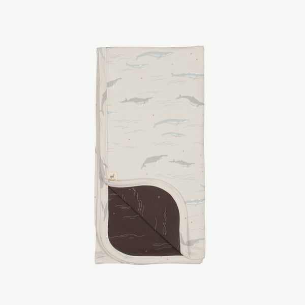 'passing whales' glacier grey double sided blanket