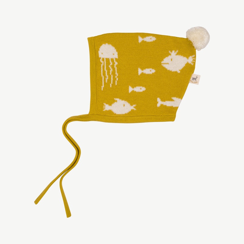 'stranger fish' mustard knit bonnet
