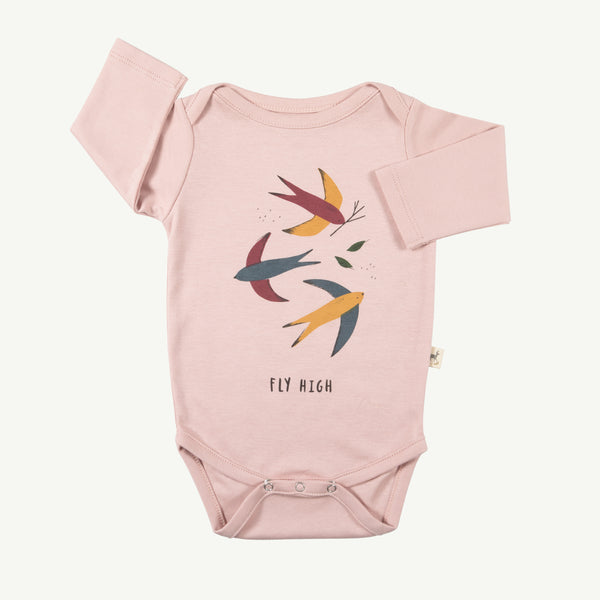 'fly high' pale mauve onesie