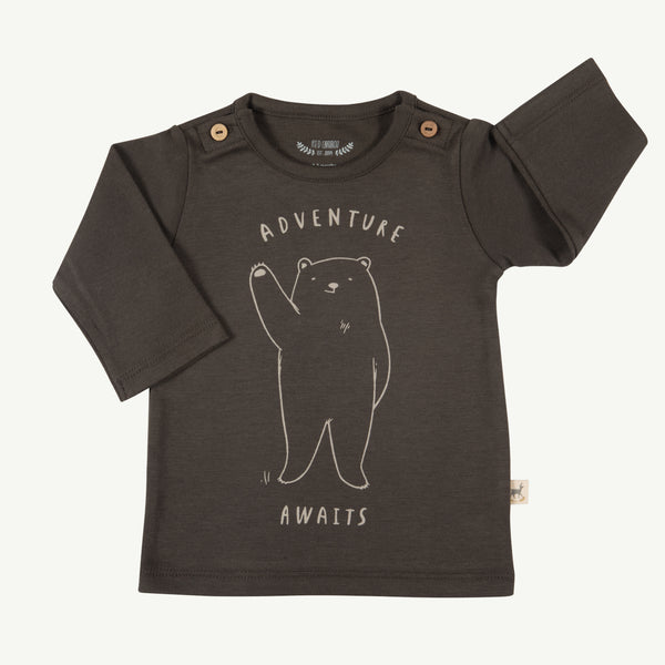 'adventure awaits' black olive buttons t-shirt