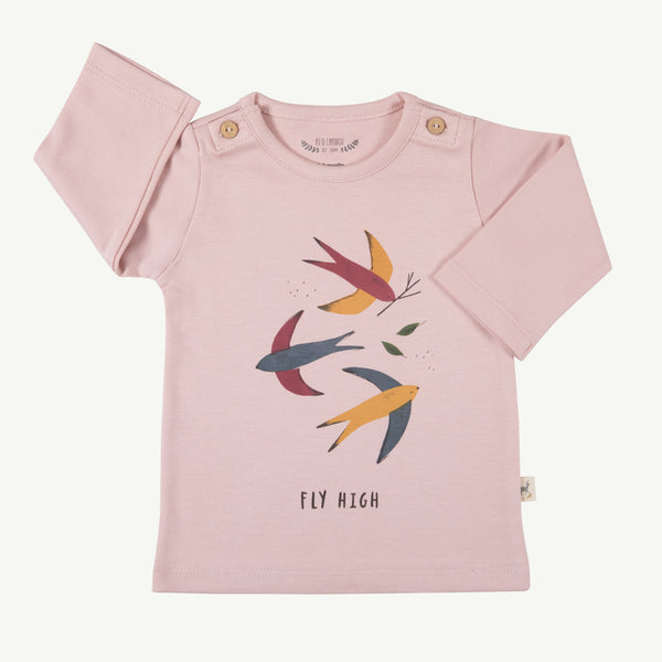 'fly high' pale mauve buttons t-shirt