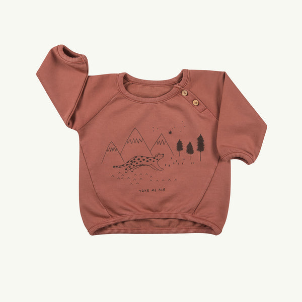 'take me far' light mahogany sweatshirt