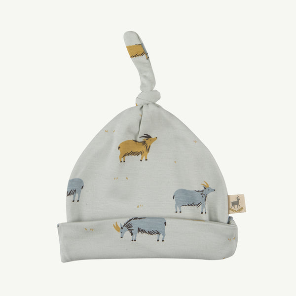 'golden blue goat' sky gray knotted beanie