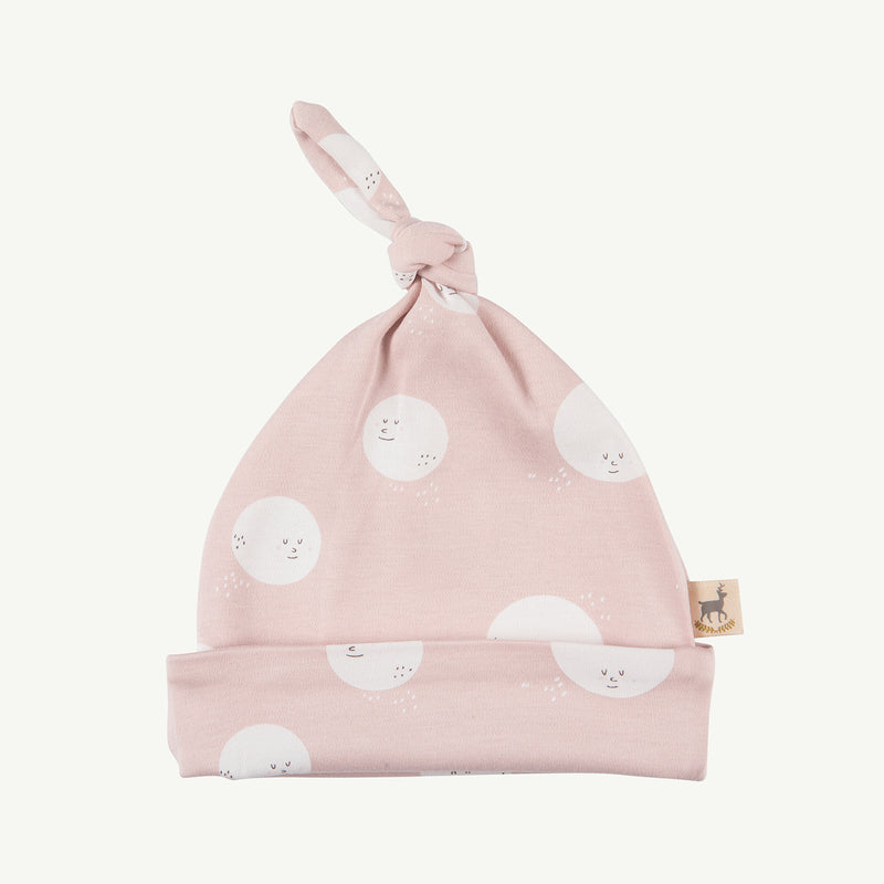 'moon faces' peach whip knotted beanie