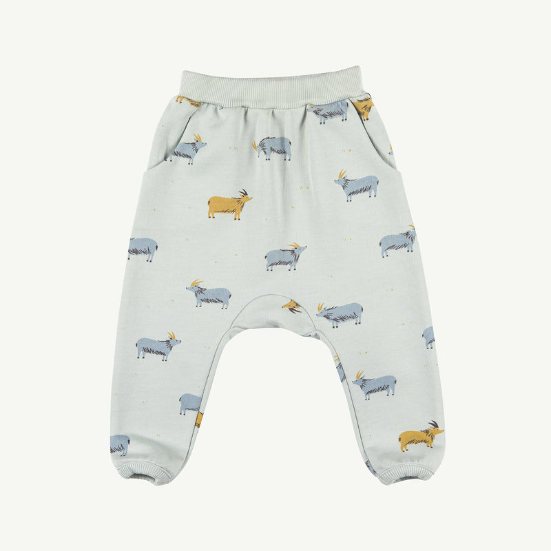 'golden blue goat' sky gray jogger