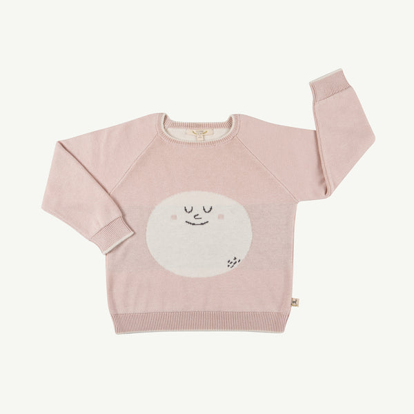 'happy moon' peach whip knitted sweater