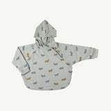 'golden blue goat' sky gray poncho