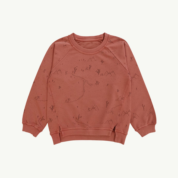 'yeti tracks' light mahogany oversized sweatshirt
